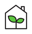 eco green house simple outline icon black with vector image