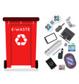 electronic waste recycling garbage can trash vector image vector image