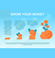 flat banner grow money investment growth vector image vector image