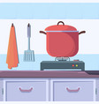 gas stove food kitchen interior with boiling food vector image