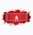 goalkeeper action prepare catches the ball vector image