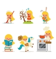 Happy Little Girl Smiling Child Icon Set Concept vector image
