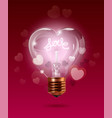 happy valentines day transparent glowing electric vector image vector image