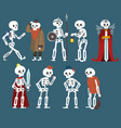 human skeletons set funny dead man zombie cartoon vector image