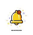 icon of cute golden bell for new notification vector image vector image