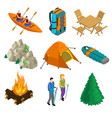 isometric camping elements set vector image vector image