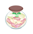 Jar of Pickled Turnip with Malt Vinegar vector image vector image