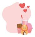 kawaii lion cartoon and desserts design vector image