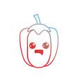 line kawaii cute happy pepper vegetable vector image vector image