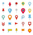 map pointer icons set flat style vector image vector image