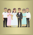 newly married couple with parents-in-law vector image vector image