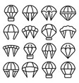 parachuting icons set outline style vector image vector image