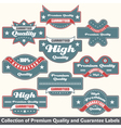 Premium quality and guarantee label collection vector image vector image