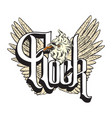 rock hand drawn of crazy bird with lettering and vector image