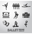 set ballet freehand icons with - ballet dancers vector image