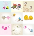 Set of 9 valentines cards with cute birds couples vector | Price: 1 Credit (USD $1)
