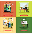set of business people posters in flat vector image
