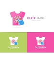 shirt and click logo combination Wear and vector image vector image