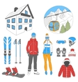 ski resort icons set vector image