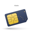 State of Alaska phone sim card with flag vector image vector image