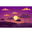 sunset at spring meadow landscape background vector image