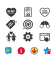 Valentine day love icons target aim with heart