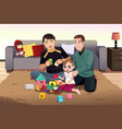 young gay parents playing with their kid vector image vector image