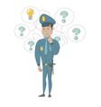 young hispanic policeman having an idea vector image vector image