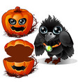 raven and box of pumpkins halloween characters vector image
