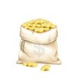 a realistic old bag with heap of gold coins vector image