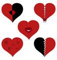 a set of broken hearts vector image vector image