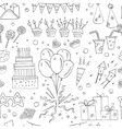 birthday party doodles seamless pattern vector image