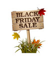 black friday sale lettering on wooden sign vector image vector image