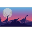 Brachiosaurus of silhouette with moon vector image vector image