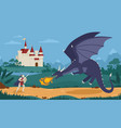brave knight or swordsman fighting with dragon vector image