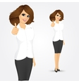 businesswoman with thumbs up gesture vector image