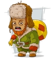 Cartoon homeless man with bag vector image vector image
