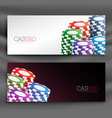 casino chips header banners set vector image