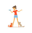 cheerful girl feed kittens milk young woman vector image vector image