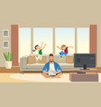children play and jump behind working father vector image vector image