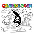 coloring book pirate parrot theme 2 vector image vector image