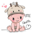 cute cartoon baby boy in a giraffe hat vector image vector image