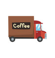 delivery coffee truck coffee industry production vector image