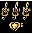 Different golden guitars violin treble clef vector image vector image