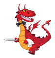 dragon waiter with tray vector image vector image