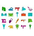electric tool device icon set color outline style vector image vector image