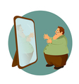 Fatso with the mirror vector image vector image