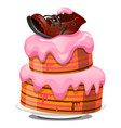 festive layered biscuit cake covered with cream vector image vector image