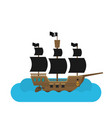 flat pirate ship in sea vector image