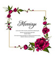 frame with purple peony flowers and word marriage vector image vector image